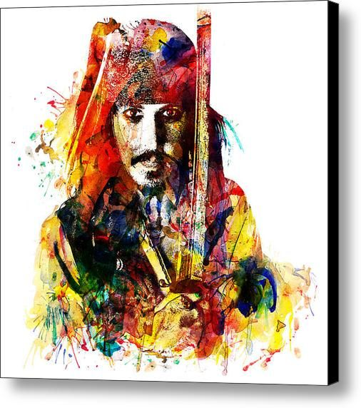 Johnny Depp As Jack Sparrow In Watercolor  Canvas Print / Canvas Art By Marian Voicu