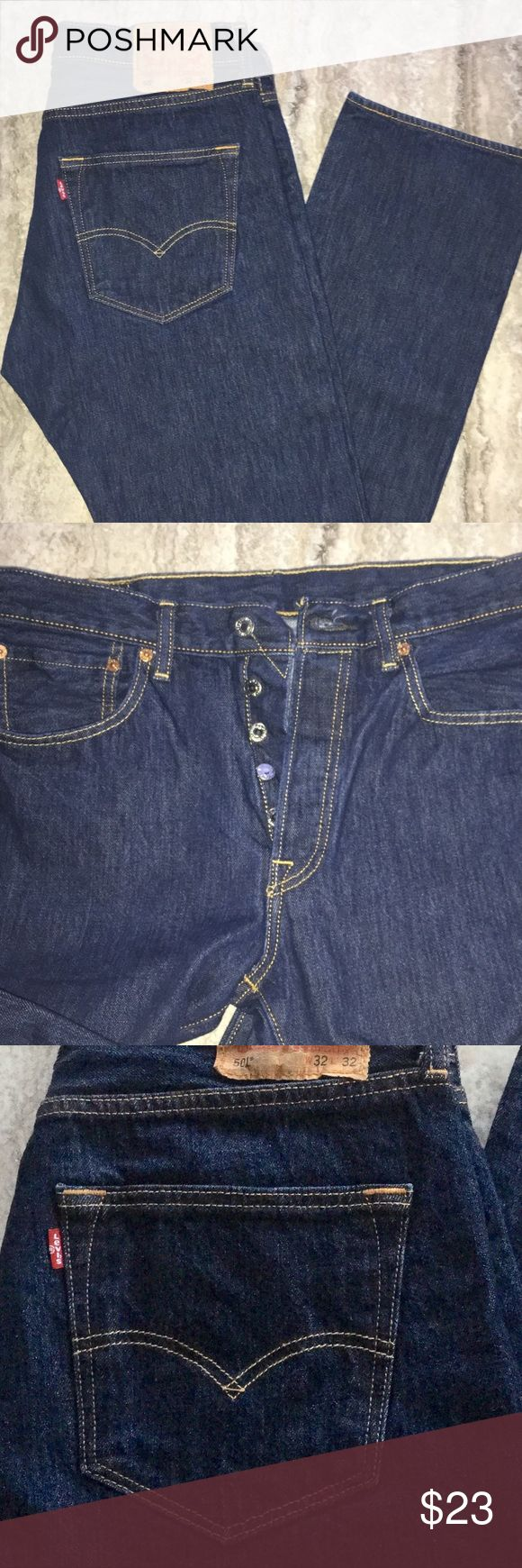 MENS LEVIS 501 Men's Levi's 501 Jeans / gently worn, well cared for. Straight fit with button fly, sits at waist, regular through thigh with straight leg. In color rinsed indigo. Purchased at Macy's, currently on sale on their site for $40. Definitely a classic for any man! Been professionally hemmed. Will update with current length. Levi's Jeans Straight