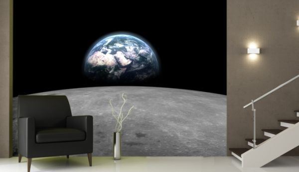 Living space with earth from moon mural wallpaper