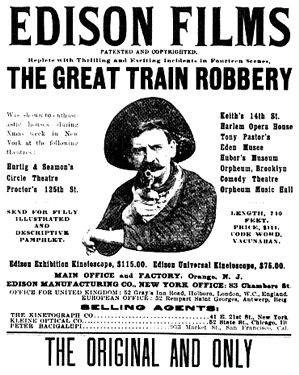 The Great Train Robbery (1903) - One of the milestones in film history was the first narrative film, The Great Train Robbery (1903). It was a primitive one-reeler action picture, about 10 minutes long, with 14 scenes, and it was not filmed in the western expanse of Wyoming but on the East Coast in various locales in New Jersey.