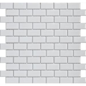 Metro Subway Glossy White 11-3/4 in. x 11-3/4 in. Porcelain Mesh-Mounted Mosaic Tile-FXLMSSW at The Home Depot $5.95 per square foot - perfect for our small kitchen!!
