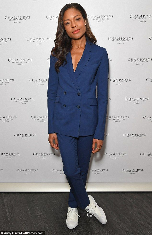 Androgynous chic: Naomie Harris channeled her femme fatale side as she attended the opening of Champney's Beauty College in Holborn, London on Friday