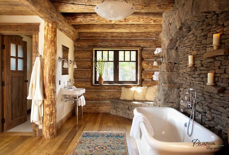 Cottage bathroom interior design with rough natural stone decoration combined with natural timbers