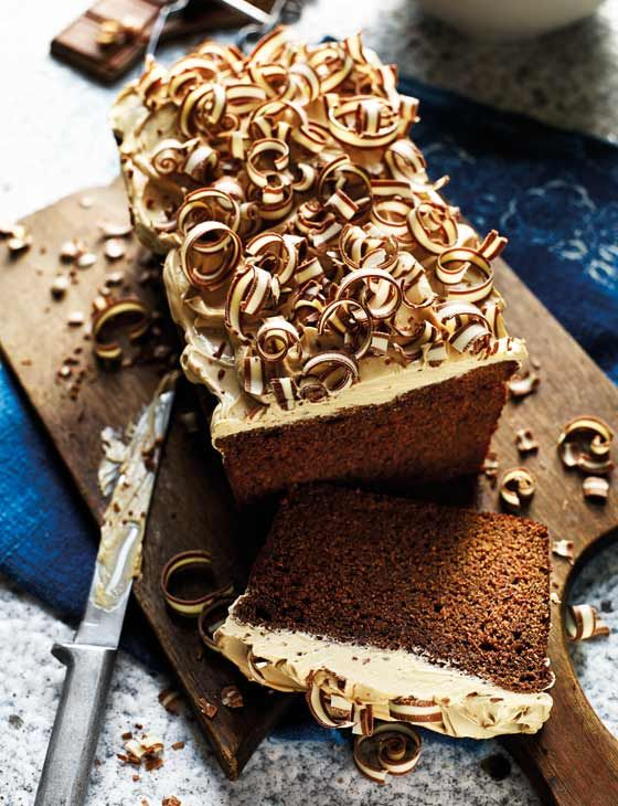 Mocha cake with latte icing. Chocolate with a caffeine fix makes a stunning Easter teatime treat.