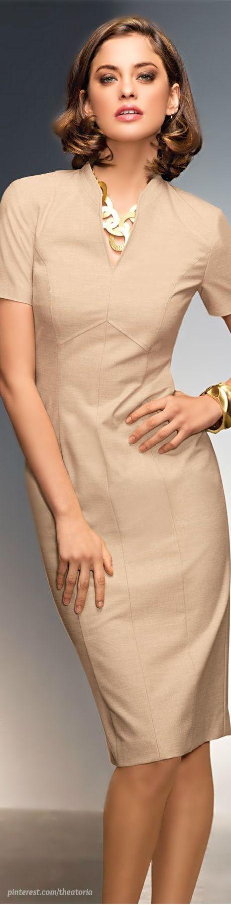 beige dress @roressclothes closet ideas women fashion outfit clothing style Madeleine: