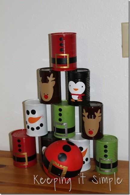 Recycled Food Cans Christmas Bowling Game
