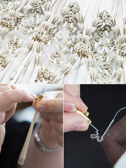 Embroidery for a haute couture dress - fashion atelier; fabric embellishment; fashion in the making
