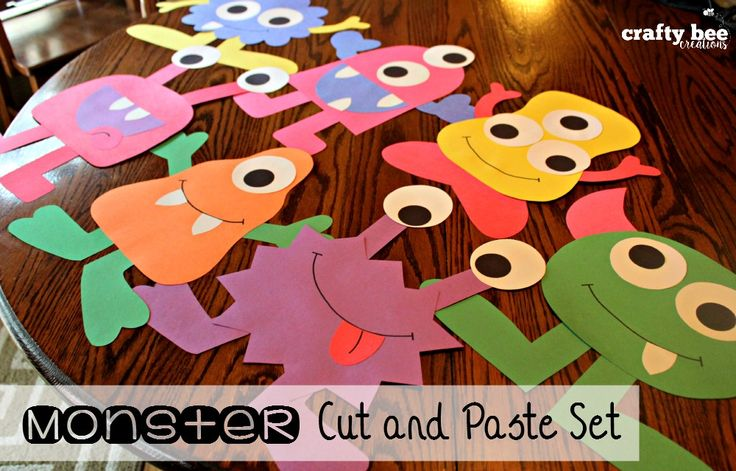 Monster Cut and Paste Set that includes patterns and directions for copying and tracing by hand.