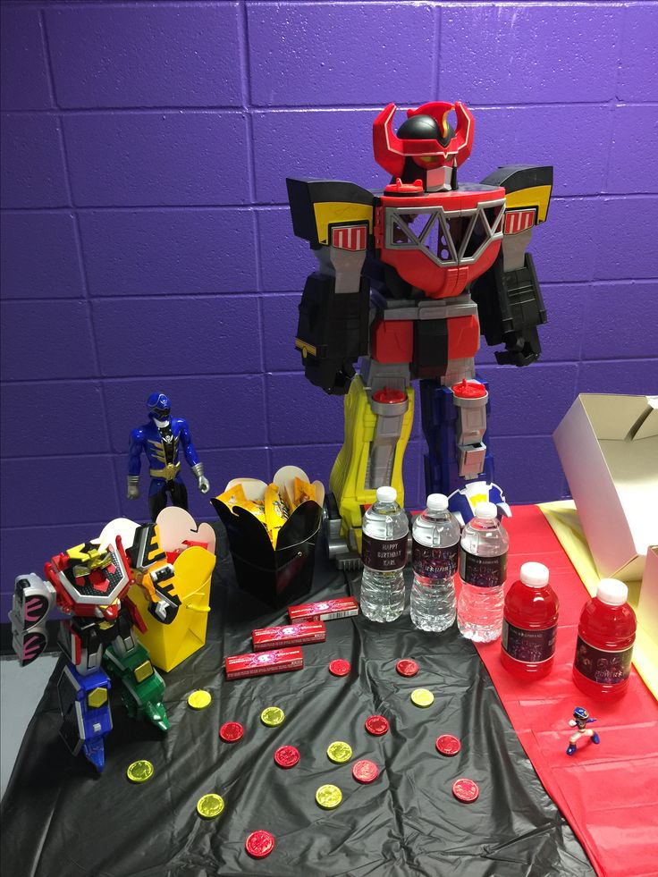 Power Ranger Party, GO Go Power rangers, Ninja Theme, New Power Ranger Drink Bottles, Power Ranger Coins and candy