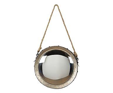 Specchio da parete convesso in metallo e corda argento