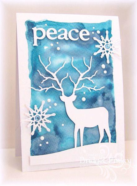 Marianne snowflake dies, Memory Box Deer Die, X-cut Alphabet Dies, gems, Ranger liquid enamel dots, watercolor background w/ distress inks,  by bfinlay - Cards and Paper Crafts at Splitcoaststampers
