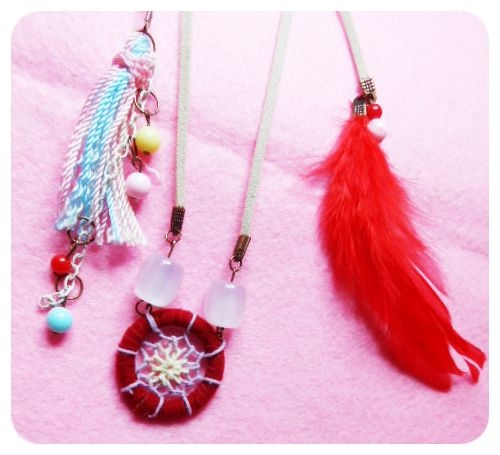 hey aylen! it's aylen dreamcatcher necklace! look at that red  feather and rainbow tassel..it's probably an unpredictable match, but I love it! make it work galz, straight from your own neck! IDR 50000
