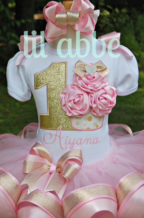 Gathered Satin Rosette Cupcake Tutu Set in by lilabbehandmade