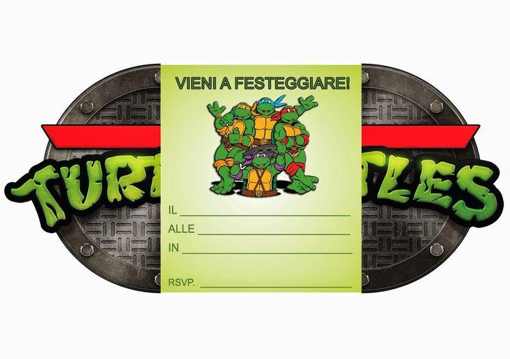 Invito di compleanno da stampare gratis Tartarughe Ninja