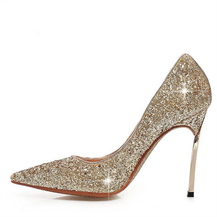LOVEXSS Womens Size 10 Heels Metal Heel Stiletto Glitter Wedding Pumps Large Size 34 - 43 Black Golden Silver Heels Shoes