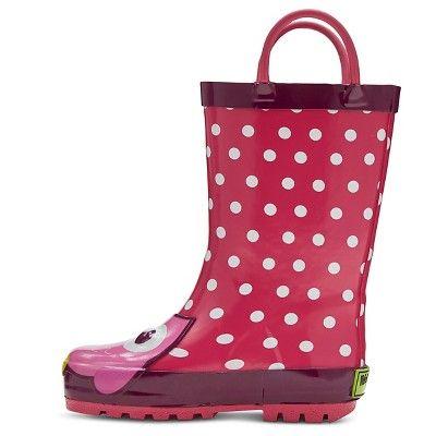 Toddler Girls' Opal Owl Polka Dot Rain Boots - Fuchsia 11-12, Pink