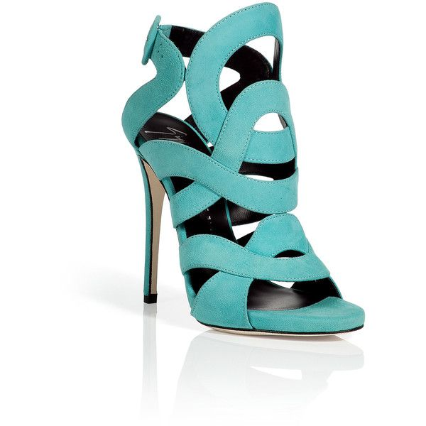 GIUSEPPE ZANOTTI Aqua Suede Swirl Sandals via Polyvore