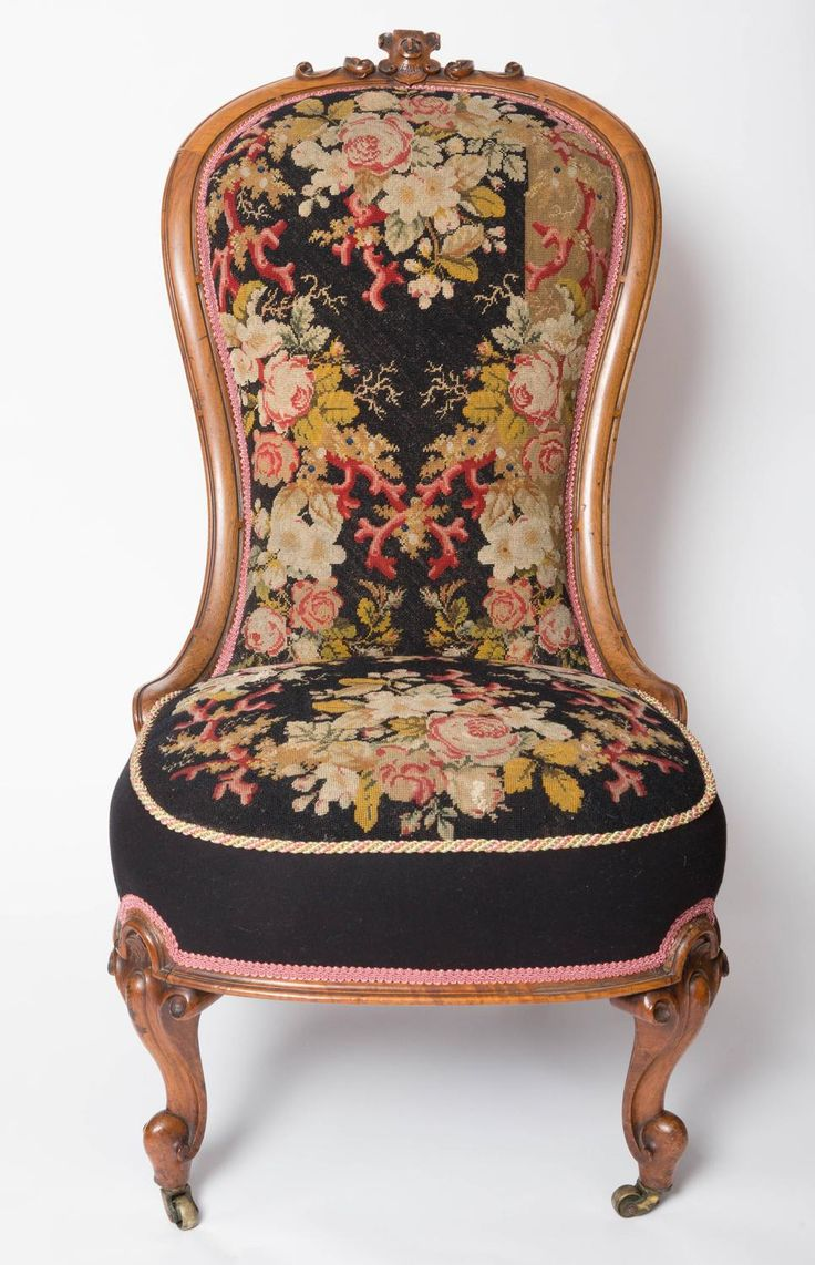 Antique upholstered chair styles - 19th Century Needlepoint Upholstered English Slipper Chair