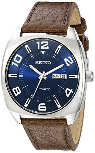 Seiko Mens SNKN37 Stainless Steel Automatic SelfWind Watch with Brown Leather Band >>> To view further for this item, visit the image link.