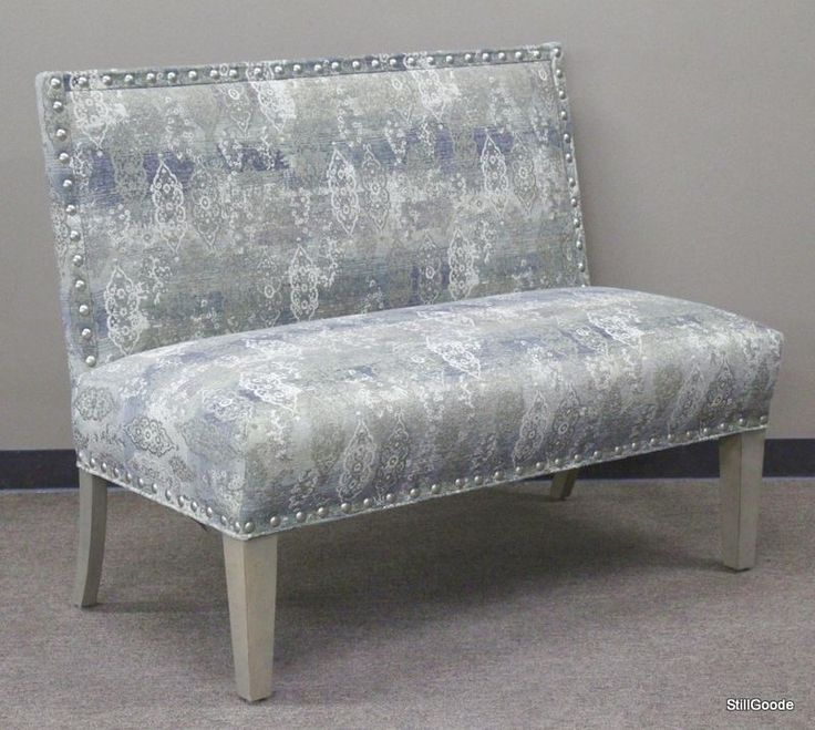 Fairfield upholstered settee with nailhead accents.  Brand new on consignment from designer home furnishings store.  Current retail $785. #OnTheShowroomFloor #Fairfield #Upholstered #Settee #NEW #Designer #StillGoode