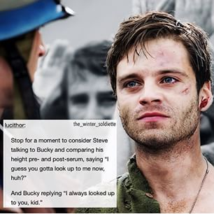 stucky headcanons - Google Search pre-serum post-serum height james barnes steve rogers i guess you gotta look up to me now