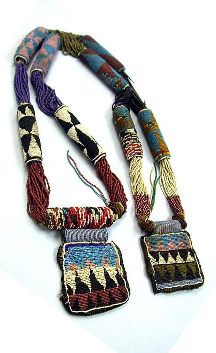 Nigeria | 'Odigba Ifa' - a Ifa Diviner's necklace - from the Yoruba people | Glass beads, cotton, stone and fruit pits | ca. 19th - 20th century