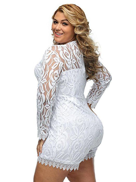 f040f931821 Amazon.com  Eastylish Women s Fashion Turtle Neck Lace Overlay Sexy  Transparent Plus Size Womens Romper 4XL 5XL (XXXXX-Large