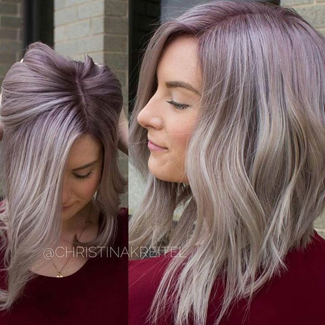 Metallic Plum/ Shadow Blonde... by @christinakreitel created with @kenraprofessional #KenraColor #MetallicObsession (Natural level 5. She toned pre-lightened hair with SV and VP Rapid Toner. Dried and applied 7VM + Violet permanent with 10 vol at the root. Smudged in alternating sections with 8VM Demi and 9VM+10SM Demi.)