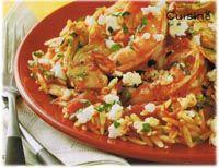 Orzo aux crevettes à la Méditerranéenne