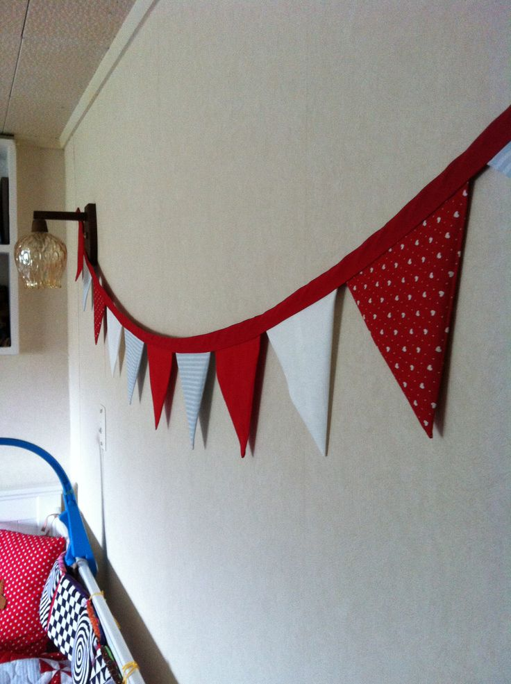Fabric bunting for baby boys room