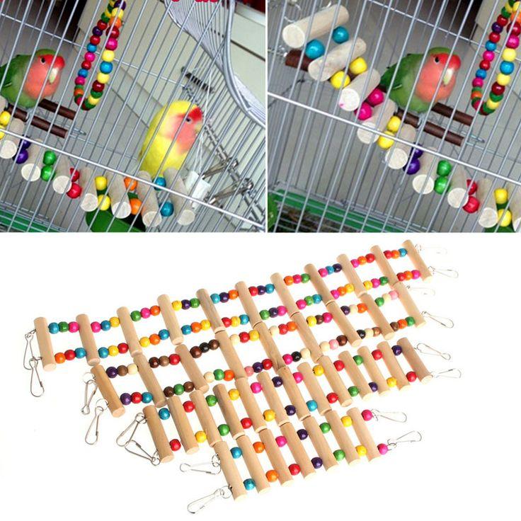 New Birds Swing Wooden Bridge Ladder Climb Cockatiel Parakeet Budgie Parrot Pet Toy On Sale #Affiliate
