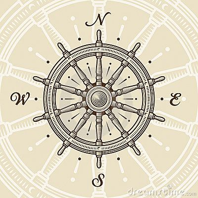 Vintage ship wheel in woodcut style. Vector illustration with clipping mask.