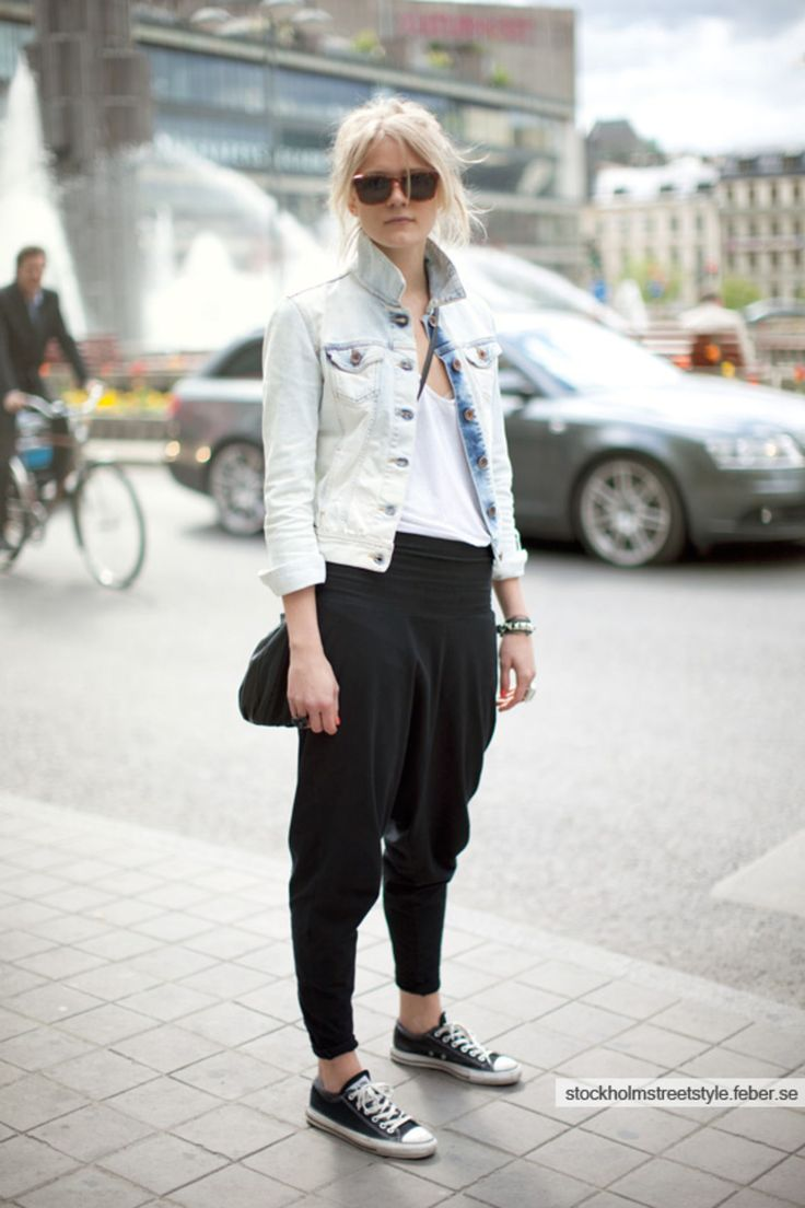 AA harem pant, styled well.