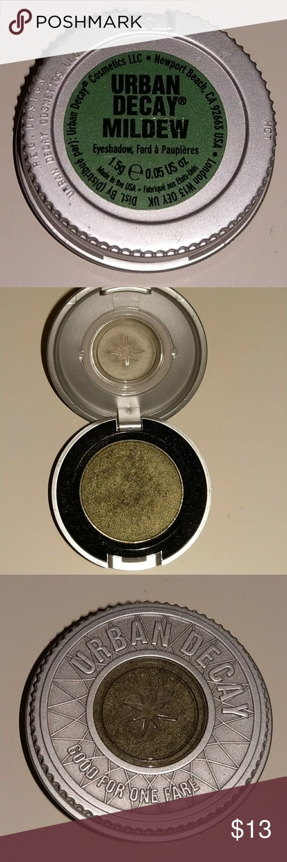 Urban Decay Eyeshadow - Mildew Lightly used, still a lot of product left. Only ended up using it a few times as I don't reach for single eyeshadows much. Color is a mossy green color with a touch of sheen and sparkle  Very pretty! Product is full-sized single eyeshadow pan. Urban Decay Makeup Eyeshadow