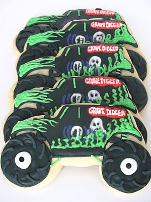 Grave digger monster truck cookies...still have my long sleeve shirt when I went to the monster truck show!!Cannot forget Big Foot!!