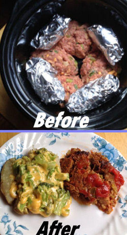 Crock Pot Meatloaf and Baked Potato