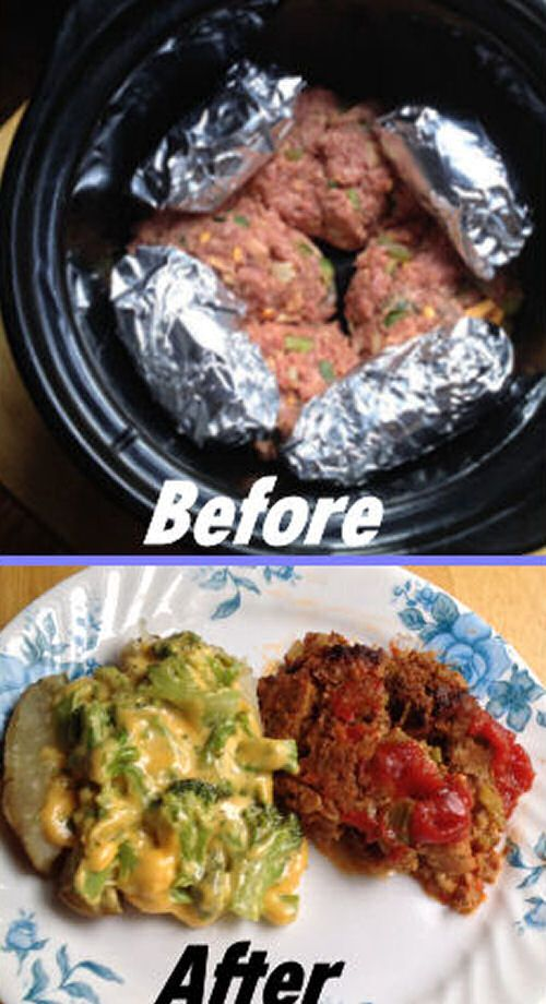 Crock Pot Meatloaf and Baked Potato