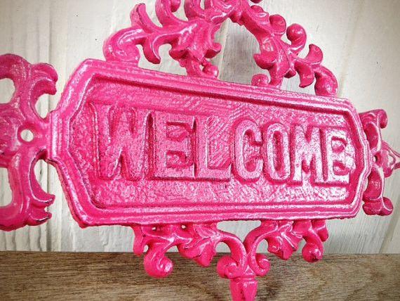 Girly Hot Pink Floral Ornate Welcome Sign - Vintage Inspired Spring Garden Decor