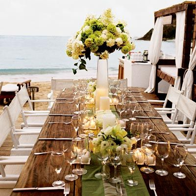 Great tablescape for a beach wedding
