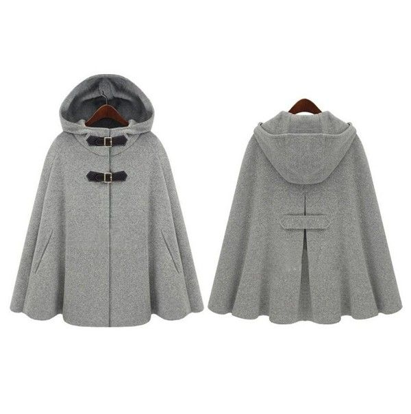 Grey Hooded Two PU Buckle Cashmere Wool Coat - Outerwears - Tops $72 CiChic