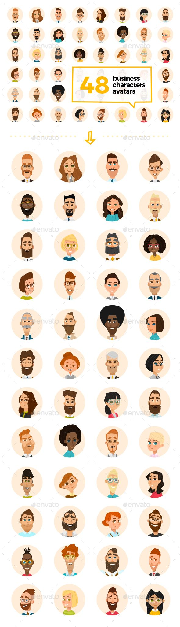 48 Business Cartoon Avatars Vector EPS, AI Illustrator, PSD. Download here: https://graphicriver.net/item/48-business-cartoon-avatars/15688678?ref=ksioks