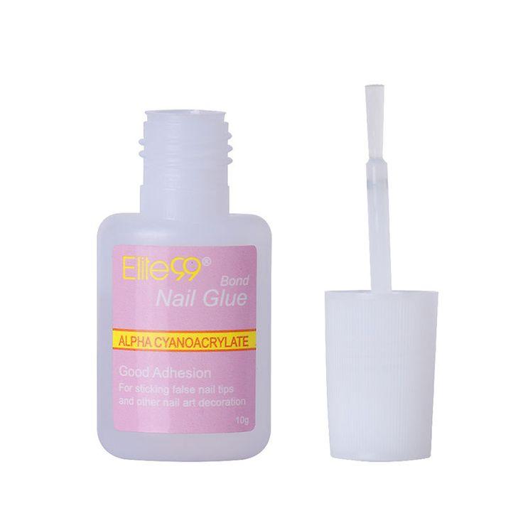 Elite99 1 Pcs 10g False Glue Nail Art Tips Glitter Acrylic Decoration with Brush false nail gel glue fake nails nail label