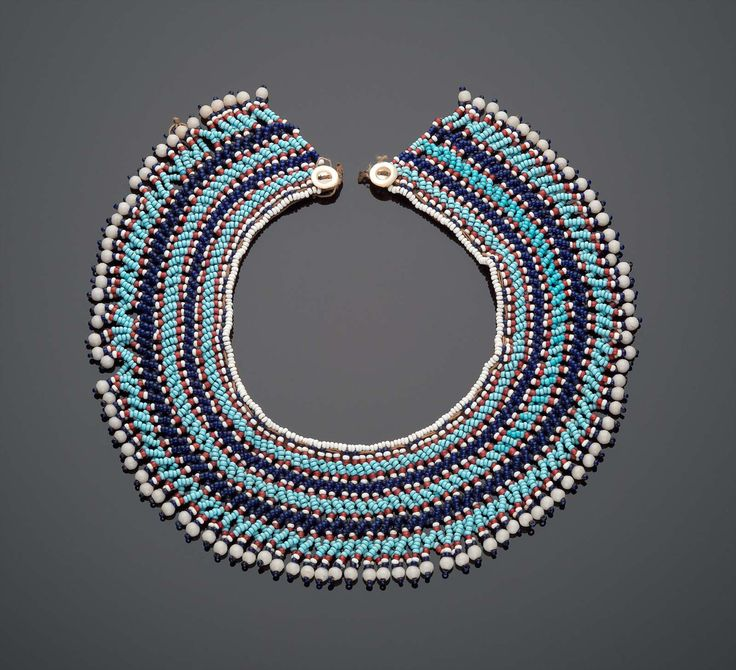 Blue and White Beaded Collar