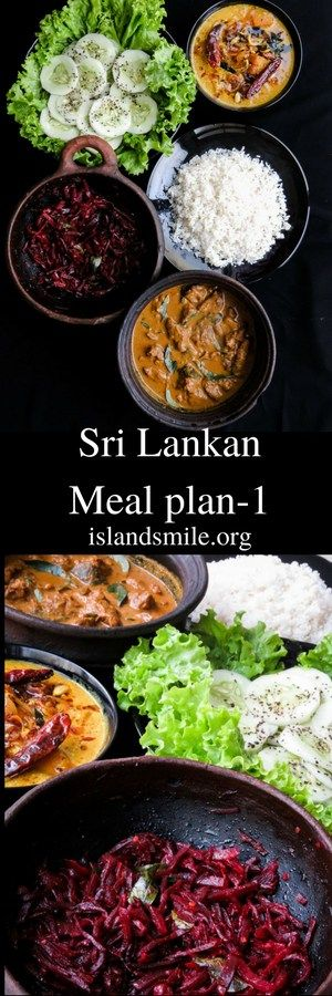 Sri Lankan Lunch meal plan 1- rice, mildly spiced beetroot curry, slow cooked beef just like my grandmother used to make, pumpkin curry cooked in coconut milk, a few slices of Cucumber in a bed of lettuce leaves.