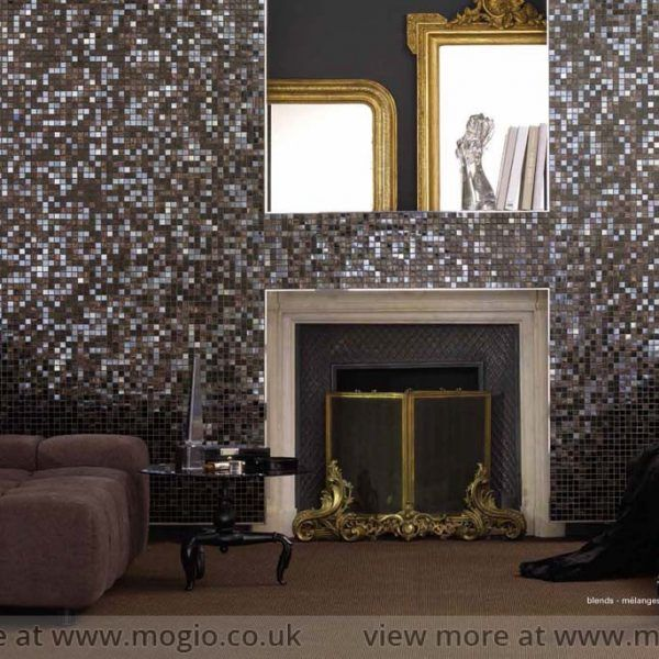 stunning dark green and aubergine mosaic as a feature wall mosaic tiles suitable for living room - Living Room Wall Tiles Design