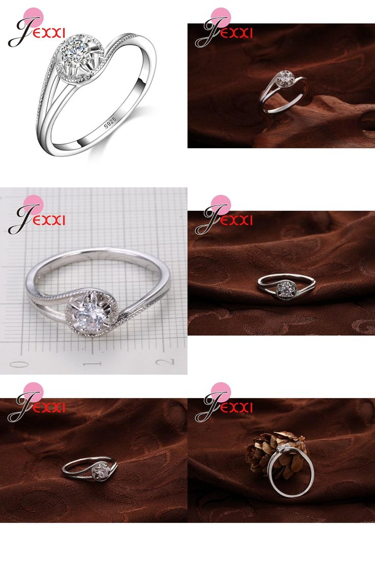 [Visit to Buy] JEXXI Trendy Wedding Jewelry For Bride High Quality 925 Stamped Silver Rings With CZ Zirconia  Women Birthday Best Gifts #Advertisement