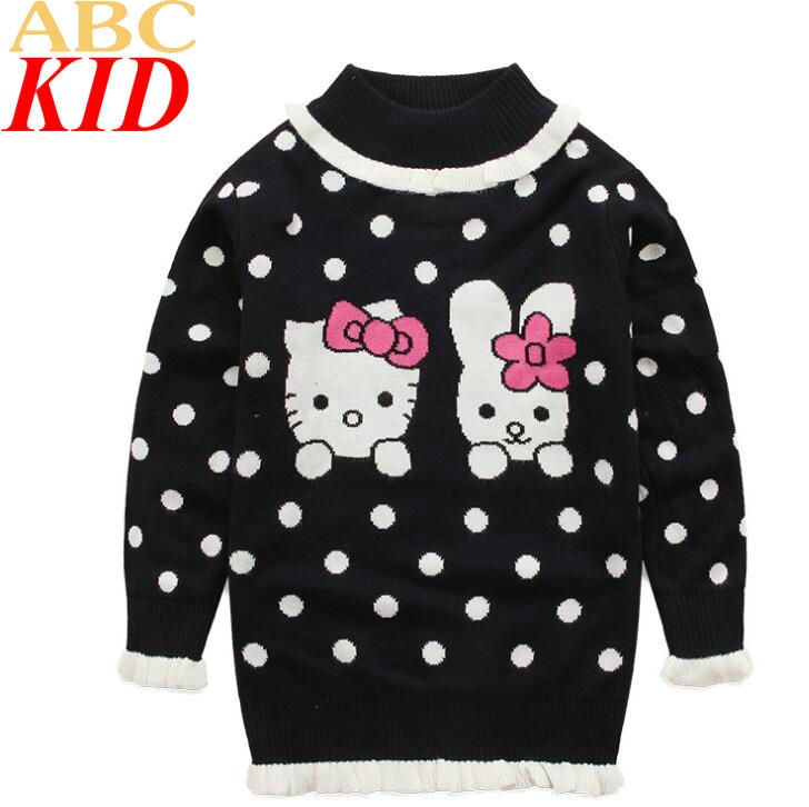 >> Click to Buy << Baby winter sweaters Hello Kitti girls sweater turtleneck polka dots sweaters 2-7Y Girls sweaters KC029 #Affiliate