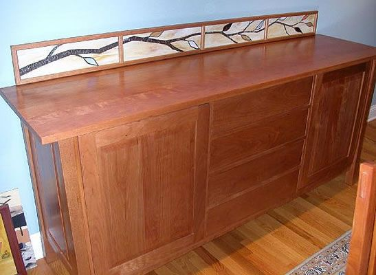 Custom stained glass branches inserts for a sideboard. Original design by Kelly Haggard Olson. All Rights Reserved.