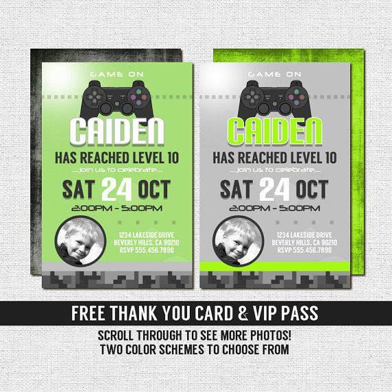 Xbox Party Invitations Free Printable VIDEO GAME Gamer Birthday Bonus Thank