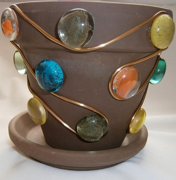 Painted Terra Cotta pot with Glass Gems and aluminum wire